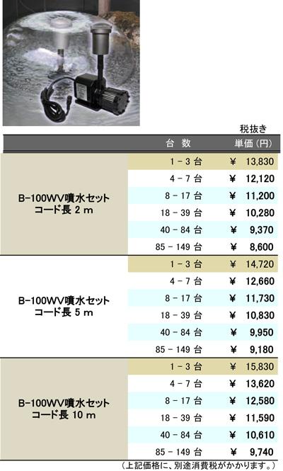 [B2B] 多台数割引表(B-100WV噴水)